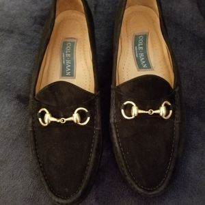 Cole Haan Loafers Black Suede Gold Buckle